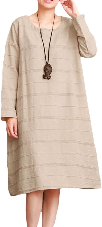 Minibee Women's Spring Long Sleeve Dress Cotton Linen Clothing