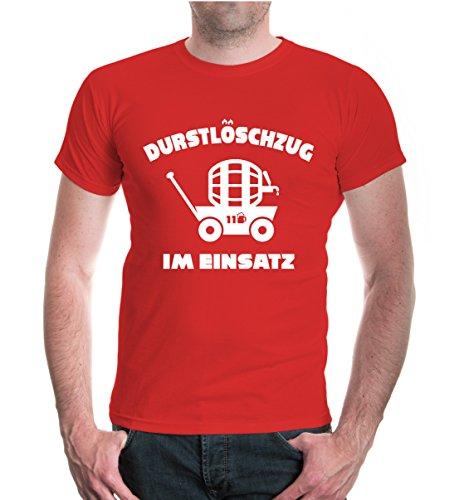 buXsbaum® Herren Unisex Kurzarm T-Shirt Bedruckt Durstlöschzug im Einsatz | Männertag Vatertag Herrentag Himmelfahrt | XXXL red-White Rot