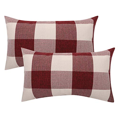 Lewondr Checkered Cushion Cover, 2 PACK Breathable Wrinkle-resistant Linen Throw Pillow Case Protector Plaid Cushion Cover Home Christmas Decor 20 x 12 Inch - Red&White