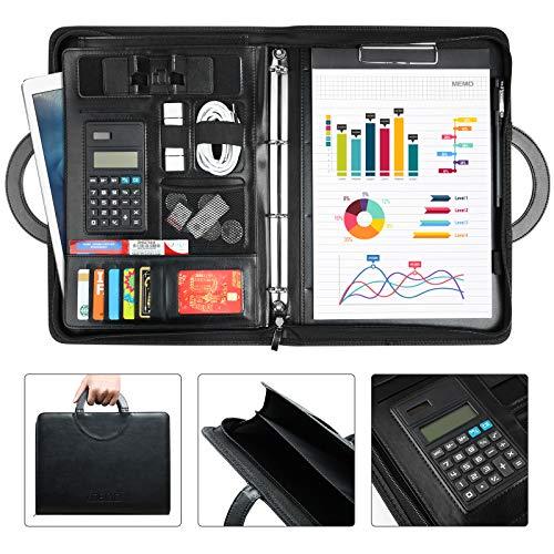 LOETAD Konferenzmappe Schreibmappe A4 Dokumentenmappe aus Leder mit Reißverschluss inkl. Taschenrechner und A4-Notizblock Schwarz