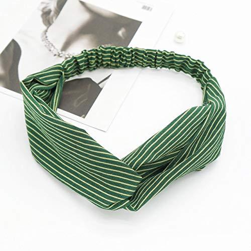 TSEINCE vrouwen elastische haarband met fijne strepen kappers retro doek kunst haarband creatieve sport hoofdtooi