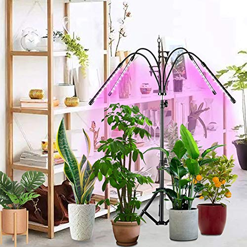 WRQ LED Grow Lights with Stand, 4 Heads Floor Plant Growing Lamps for Indoor Plants Growth.Growing Lamp for Indoor Plants,Plant Lamps for Grow Tent Blooming Fruiting