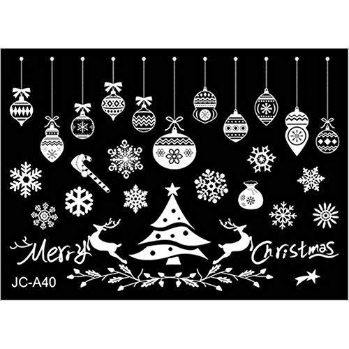 Wuio kerstdecoratie, wit, zelfklevend, afneembaar, statisch, kerstdecoratie van glas, ramen, PVC, zelfklevend, papier, 2 rollen