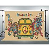 EOA 7(W) x5(H) FT Hippie Bus Party Backdrop Peace and Love Groovy 60s 70s Photography Background Graffiti Birthday Wedding Mini Van Backdrop Studio Props