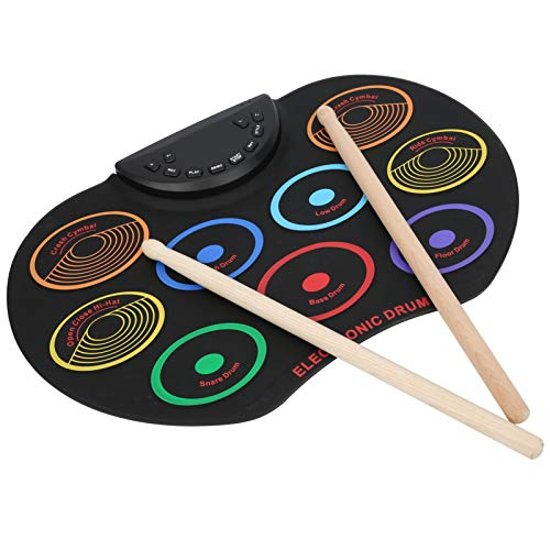 Portable Electronic Drum Pad, Roll Up Electronic Drum, Colored Hand-Rolled Electronic Drum, Dual Power Option, Percussion Instrument, for Adult Beginner(BLACK)
