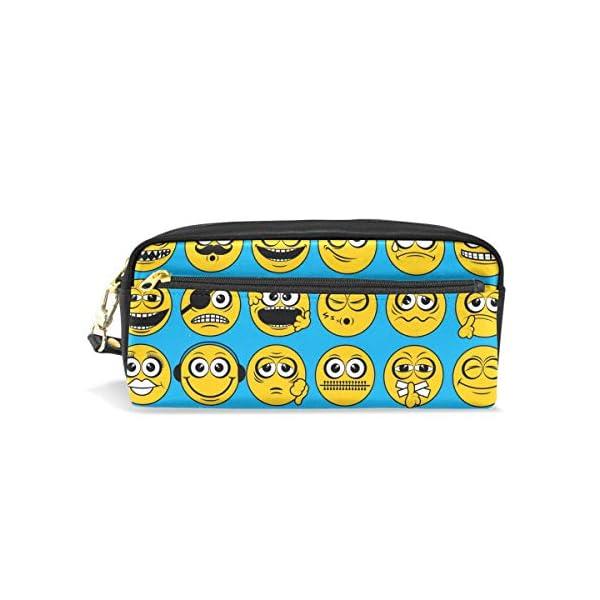 Hunihuni Emoji Emoticon – Estuche para lápices (piel sintética, con cremallera, gran capacidad)