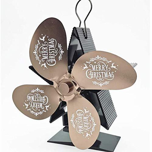Cakunmik Fan de la Estufa de Navidad de 4 Cuchillas, amigable ecológico Estufa silenciosa de la Estufa de Calor para pellets/Estufa de leña, Chimenea, proyectos de circulación Decoración navideña,A