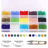 Hilitchi 1802 Pcs 4mm Multicolor Crystal Glass Beads Wholesale Crystal Faceted Spacer Beads for DIY Beading Projects, Bracelets, Necklaces, Earrings and Other Jewelry Accessories with Elastic String