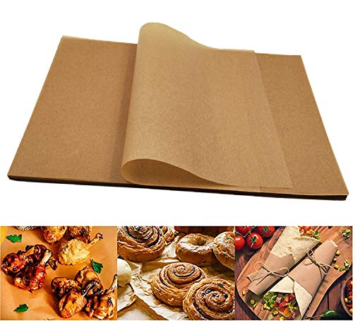 Ousyaah 100 Hojas Papel Pergamino Papel de Hornear, papel Barbacoa, Papel de Horno de Cocina, Antiadherente y Resistente al Aceite, 11.8 x 15.7 pulgadas (Marrón)