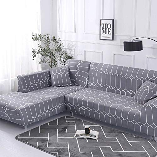 WXQY Patrón geométrico en Forma de L Funda de sofá Modular sofá Toalla Familia decoración antiincrustante Funda de sofá Todo Incluido A16 3 plazas