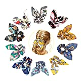 10 coleteros elásticos para el pelo de chifón para niñas, lazos con lazo, perlas, cuerdas de chifón, coleta, accesorios para el pelo (multicolor)