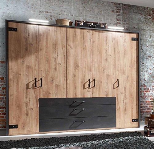 lifestyle4living Kleiderschrank in Plankeneiche-Dekor mit Absetzungen in Stahl-Optik, Drehtüren-Schrank mit viel Stauraum im angesagten Industrial-Look, 250 cm