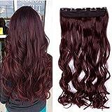 SEGO Extension a Clip Cheveux Pas Cher Rajout Syntetique Monobande Meche Boucle Longue - 43 CM Vin Rouge [1 Pièce 5 Clips]