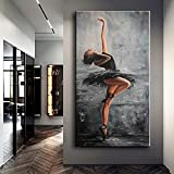 Elegant Ballet Dancing Girl Background Poster Canvas Painting Modern Character Wall Artist Home Decoration Mural 35x70 CM (sin marco)