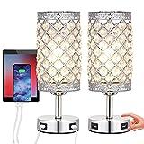 Lámpara de mesilla de noche de cristal 2 unidades, lámpara de mesa con 2 carga USB Toque de soporte con bombilla para mesitas de noche de dormitorio [Clase de eficiencia energética A+++]