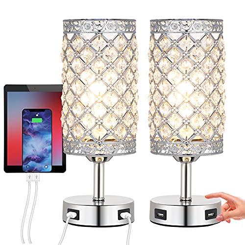 Lámpara de mesita de noche de cristal, 2 unidades, lámpara de mesa con 2 carga USB Toque de...