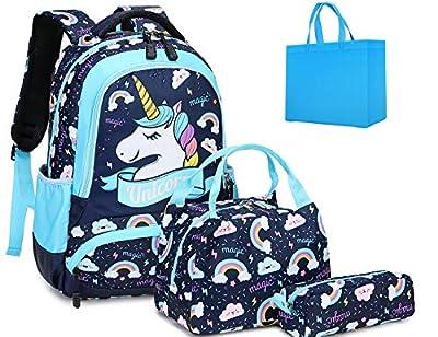 Mochila Unicornio Niña Mochilas Niñas Escolares Mochilas Escolares Chicas Mochila Infantil con Bolsa para Almuerzo y Estuche de Lápices