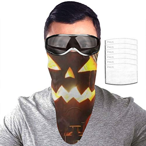 Half Bavaclava Face Mask Triangle Wind Dust Proof Masks With Filter Magic Tape Strap Full Ears Protection For Women Men Ski Motorcycle Cycling Bicycle -Halloween Pumpkin Head Jack Lantern With Burnin