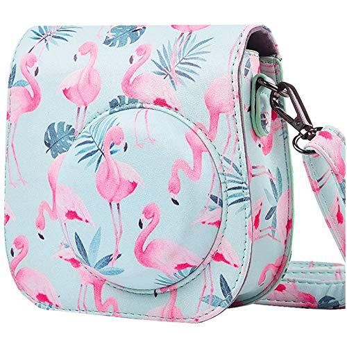 SAIKA Tasche Hülle für Fujifilm Instax Mini 9/8/8 + Sofortbildkamera, Vintage Compact Schutztasche mit Schultergurt & Tasche (Flamingos)