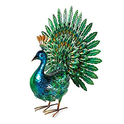chisheen Peacock Statue Metal Yart Art with Solar Light Outdoor Garden Statues and Sculpture for Lawn Patio Living Room Decoration