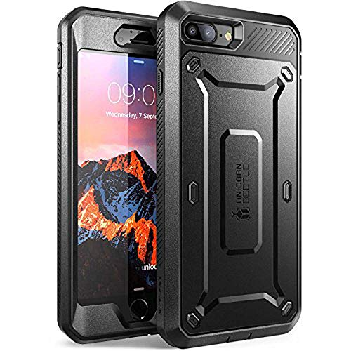 SUPCASE Funda para iPhone 8 Plus iPhone 7 Plus Funda 360 Grados Carcasa rígida Cover Euti [Unicorn Beetle Pro] con Protector de Pantalla Integrado y Clip para cinturón, Color Negro