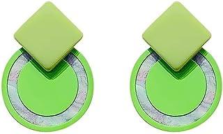 Colouring Resin Earrings Retro Stitching Geometric Rhythm Design Stud Earrings Temperament Fashion Ear Ornaments Jinlyp (Color : Green)