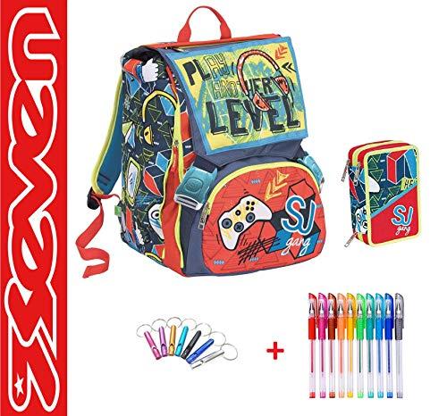 SEVEN. Mochila SJ Gang Escuela Desmontable Boy niño Flip System Fthe Best El Mejor Hey! + Estuche de 3 Pisos Completo + Paquete de 10 bolígrafos de Colores + Llavero Silbato