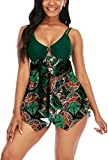 Swimsuits for Women Two Piece Bathing Suits Tummy Control Swimwear Modest Print Exquisite Ring Top with Boyshort Swimsuits Dark Green