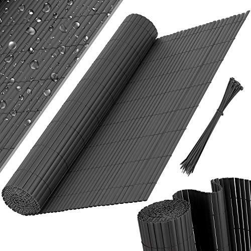KESSER® PVC Sichtschutzmatte Sichtschutzzaun Balkonverkleidung Windschutz Wetterfest verstärkten Lamellen, für Garten, Balkon Terrasse Outdoor Balkonumrandung mit Kabelbindern, Anthrazit, 160 x 300 cm