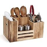 Cestello per posate in legno, portaposate, per posate, tovaglioli, saliera, salse, 8 scomparti per utensili da cucina, multifunzione, per tavolo e picnic