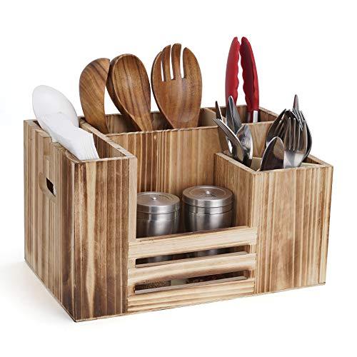 Besteckaufbewahrung, Besteckbehälter Holz 8 Fächer Tisch Menage für Servietten Besteck Saucen Gewürze, Besteckfass Besteckträger für Tisch Gastro Grill Party Camping Büffet Küche
