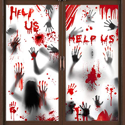 Halloween Door Cover Window Poster 2 PCS, Bloody HandprintsHalloween Window Door Decorations with Scary Zombiefor Haunted House Halloween Party Decorations