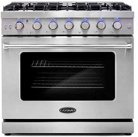 Cosmo COS EPGR366 36 in Slide In Freestanding Gas Range with 6 Sealed Burners Cast Iron Grates product image
