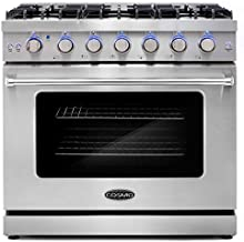 Cosmo COS-EPGR366 36 in. Slide-In Freestanding Gas Range with 6 Sealed Burners, Cast Iron Grates and 6.0 cu. ft. Convection Oven in Stainless Steel