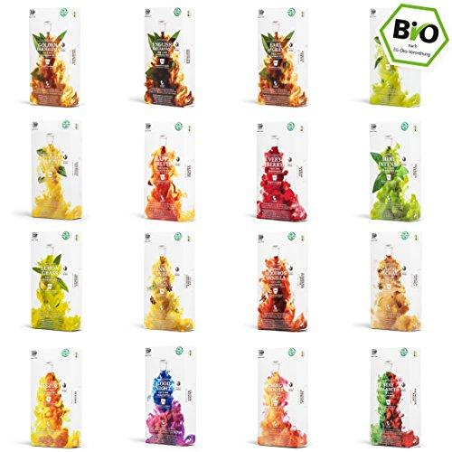 Probierbox - 16 x 10 BIO Teekapseln von My-TeaCup | Kompatibel mit Nespresso®*-Maschinen | 100{19f2db87755262ccb17d427a9273917bc4b10bf5f53a67025711a18d49fd6915} kompostierbare Kapseln ohne Alu | 160 Kapseln 16 Sorten