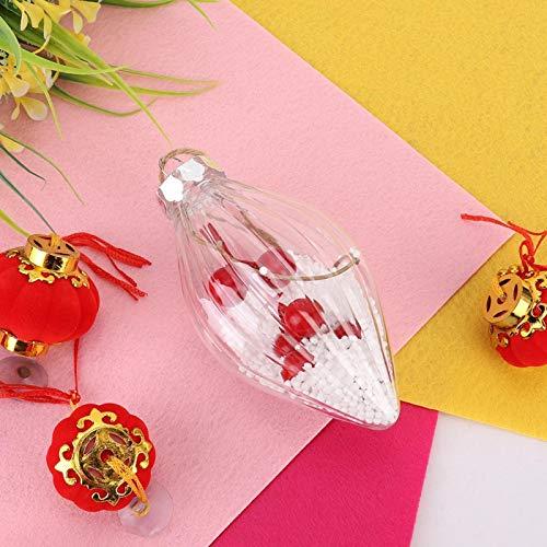 BOLORAMO Bolas de Navidad Transparentes de Dos Puntas, Bola de Adorno de árbol de Navidad, con Cuerda Colgante de plástico Festivo para Banquete de Boda para Embalaje de Regalo(776E)