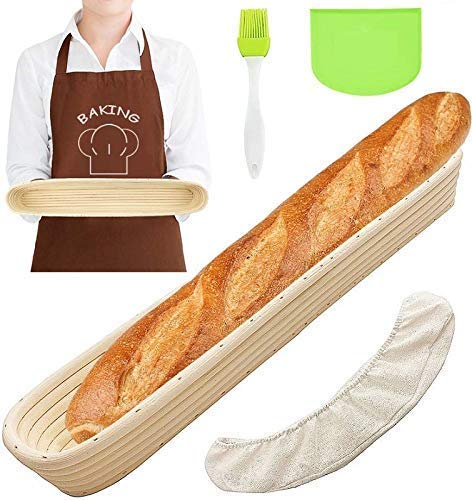 Oval Bread Banneton Proofing Basket Baguette Baking Bowl Set with Dough Scraper Linen Liner Cloth Silicon Brush for Professional & Home Bakers