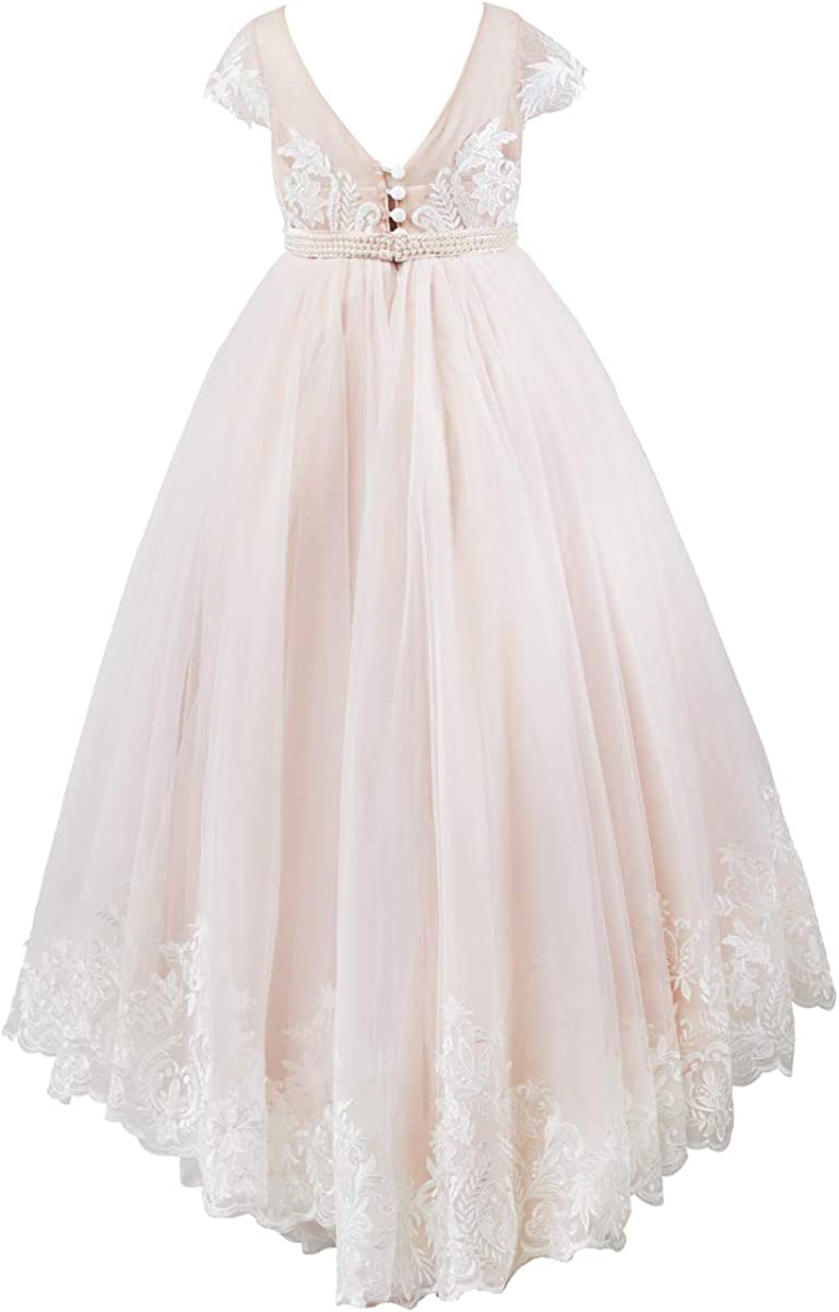 Miama Cap Sleeves V Back Lace Tulle Wedding Flower Girl Dress Junior Bridesmaid Dress