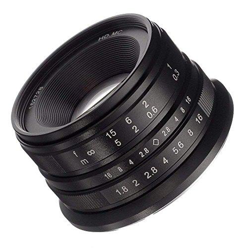 Fotga 25mm F1.8 handmatige fixfocus-objectief handmatige focus-lens, groot diafragma, 68 graden kijkhoek, voor Fujifilm Fuji Cameras X-A1 X-A10 X-A2 X-A3 X-AT X-M1 XM2 X-T1 X-T2 X-T20 X-Pro1 X-Pro2 X-E1 X-E2 X-E2s APS-C (For Fujifilm X Mount Camera, Black)