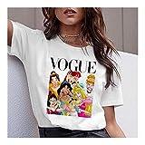LIWEIKE Mujeres Divertido Vogue Princesa T 90, Camisa de Las Muchachas Camiseta de Harajuku impresión gráfica Verano Camiseta Primer Golpe Gota de la Nave (Color : 3, Size : XXXL)