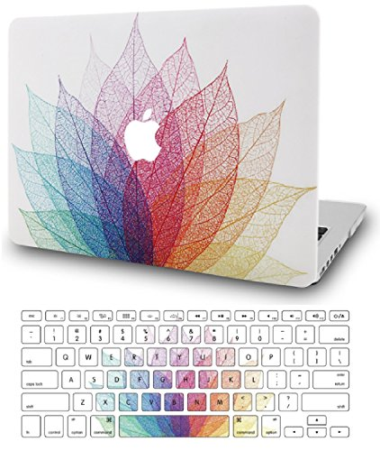 KECC Laptop Case for New MacBook Air 13' Retina (2020/2019/2018, Touch ID) w/ UK Keyboard Cover Plastic Hard Shell Case A1932 (Leaf - Colourful 2)