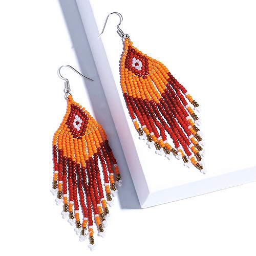 Ningz0l Oorbellen voor dames, oorsieraden, Europese en Amerikaanse stijl en wijze overdreven geometrie kwastparels Exquise lange oorbellen sieraden vrouwelijk oranje