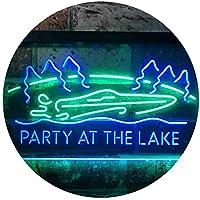 Party At The Lake Cabin Display Dual Color LED看板 ネオンプレート サイン 標識 緑色 + 青色 600 x 400mm st6s64-i3430-gb