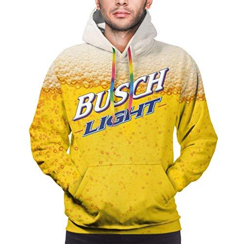 harry wang Hombres 3D Busch Light Vivid Beer Impreso Poliéster Sudadera con Capucha Casual Sudaderas Delgadas L