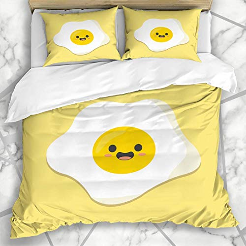 Jojun Duvet Cover Sets Funny Yellow Egg Kawaii Cute Flat Fun Food Drink Breakfast Happy Eyes Morning Design Art Microfiber Bedding with 2 Pillow Shams Easy Care Anti-Allergic Soft Smooth