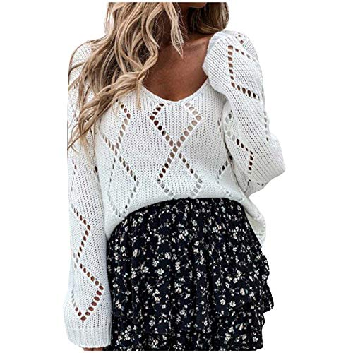 derenzide Cold Shoulder Sweaters for Women Long Sleeve Crewneck Casual Pullover Sweater Fashion Solid Color Hollowing Out White