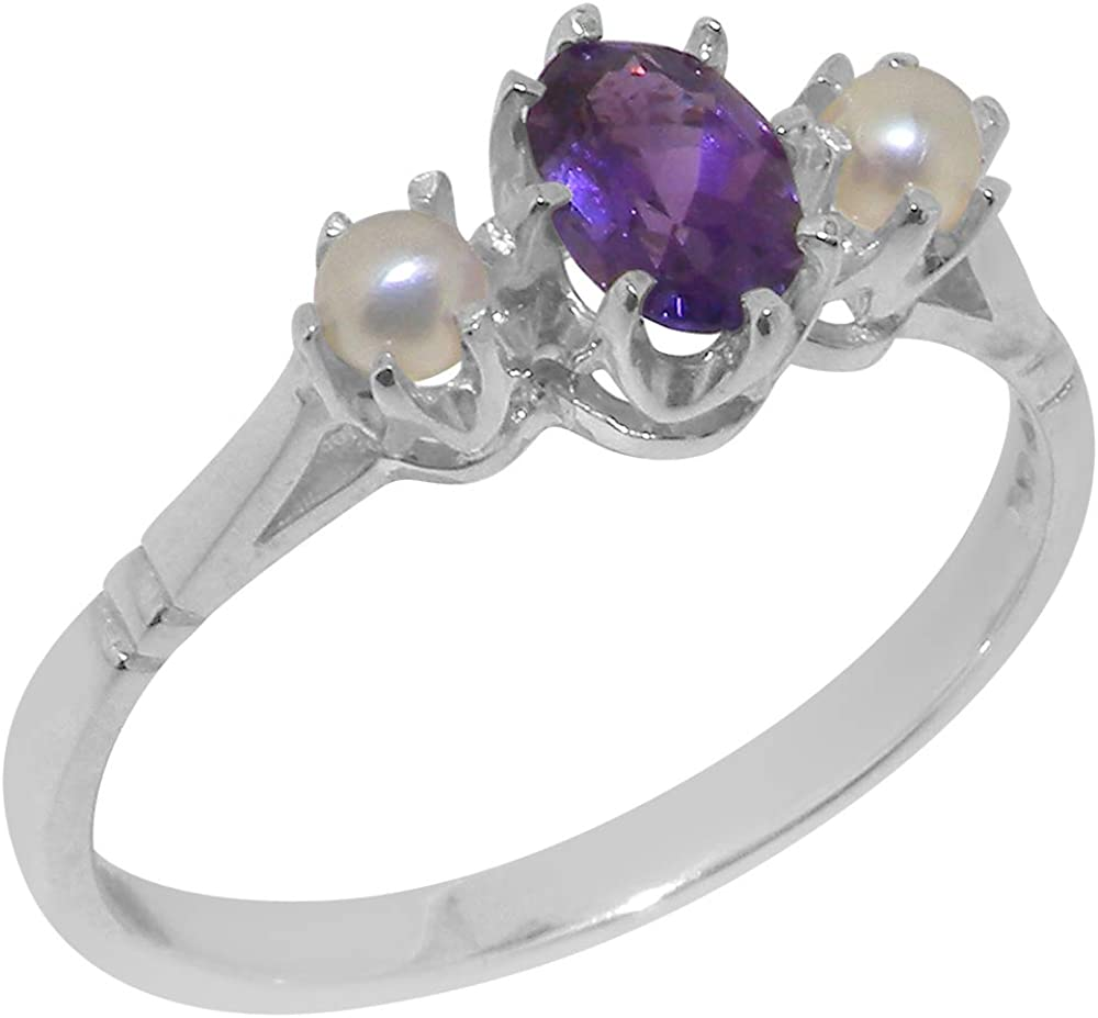 Solid 14k Gold Natural Amethyst & Cultured Pearl Womens Ring (Yellow, Rose, White Gold options) - Sizes 4 to 12 Available