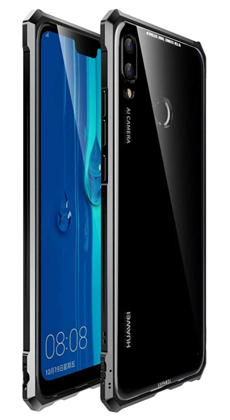 Huawei Y9 2019 Case, UBERANT Metal Frame & Tempered Glass Back Buckle Type Ultra-Thin Clear Luxury Scratch Resistant Shockproof Case for Huawei Y9 2019 / Enjoy 9 Plus 6.5