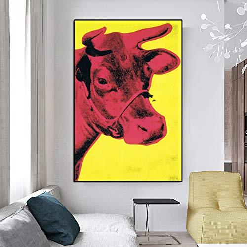 wangpdp Andy Warhol Rote Kuh Pop Art Leinwand Gemälde Klassische Wandkunst Für Wohnzimmer Schlafzimmer Dekorative Kunst Bild Poster und Drucke