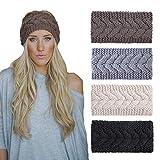 4 Pack Knitted Headbands Winter Headband Ear Warm Crochet Head...